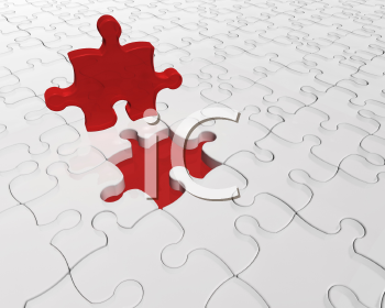 Royalty Free Clipart Image of a Puzzle With One Red Piece Left Out