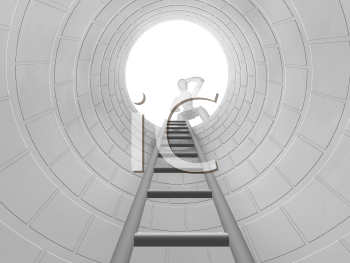 Royalty Free Clipart Image of a Person Looking Down a Hole With a Ladder