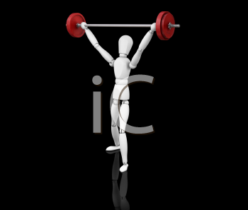 Royalty Free Clipart Image of a 3D Guy Lifting Weights