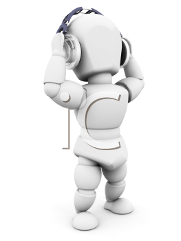 Royalty Free Clipart Image of a 3D Person Listening to Headphones