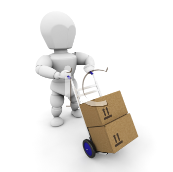 Royalty Free Clipart Image of a 3D Guy Moving Boxes