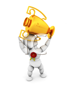 Royalty Free Clipart Image of a Person Holding a Trophy