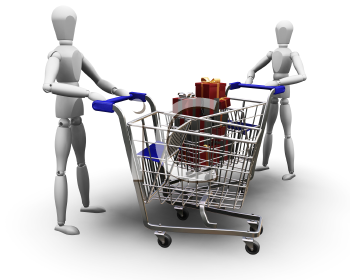 Royalty Free Clipart Image of Holiday Shoppers With Carts