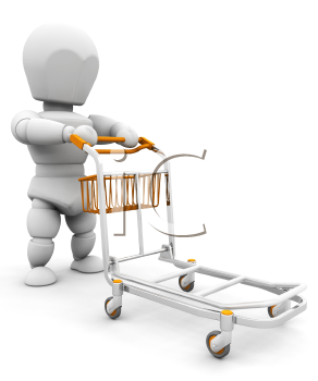 Royalty Free Clipart Image of a 3D Image Pushing a Luggage Cart