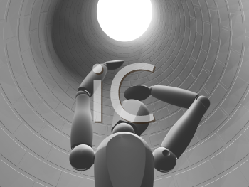 Royalty Free Clipart Image of a Person Stuck Down a Hole