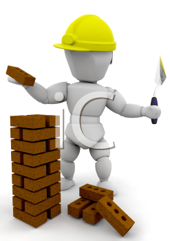 Royalty Free Clipart Image of a Stone Mason