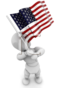 Royalty Free Clipart Image of a Person Waving an American Flag