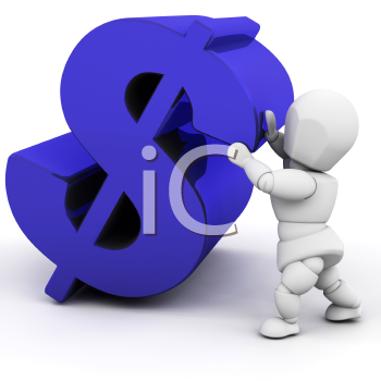 Royalty Free Clipart Image of a Person Holding a Dollar Sign