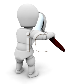 Royalty Free Clipart Image of a Person Looking Through a Magnifying Glass