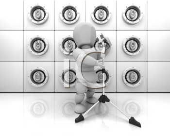 Royalty Free Clipart Image of a Person Singing In Front of a Wall of Speakers