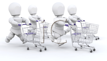 Royalty Free Clipart Image of People Running With Shopping Carts