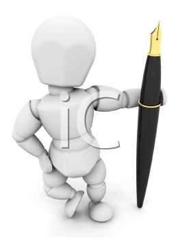 Royalty Free Clipart Image of a Person Holding a Fountain Pen