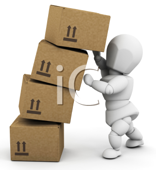 Royalty Free Clipart Image of a Person Piling Boxes