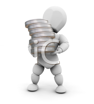 Royalty Free Clipart Image of a Person Holding a Stack of Film Reels