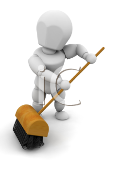 Royalty Free Clipart Image of a Person Sweeping