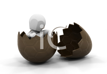 Royalty Free Clipart Image of a Person Inside a Chocolate Egg