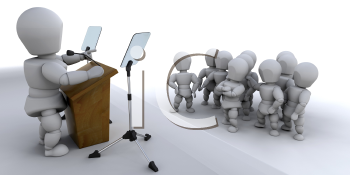 Royalty Free Clipart Image of a Person Speaking to a Crowd
