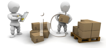 Royalty Free Clipart Image of a Person Stacking Boxes While Another Writes on a Clipboard