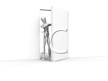 Royalty Free Clipart Image of a Person Coming Through an Open Door