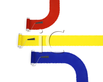 Royalty Free Clipart Image of Paint Rollers in Primary Colours