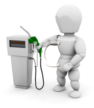 Royalty Free Clipart Image of a Person With a Gas Pump