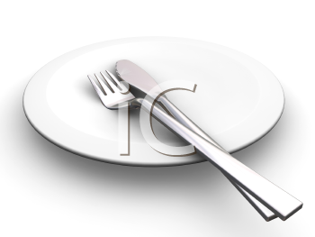 Royalty Free Clipart Image of a Plate With a Fork and Knife