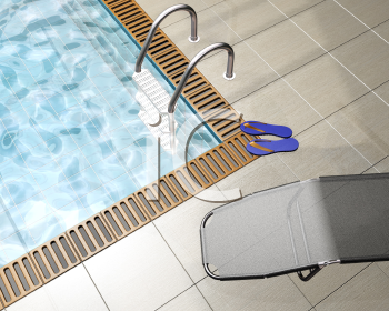 Royalty Free Clipart Image of a Pool and Deck