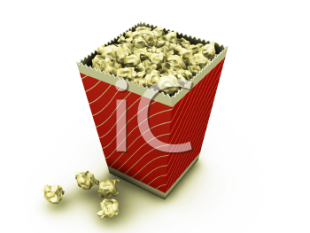 Royalty Free Clipart Image of a Container of Popcorn