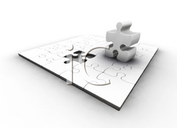 Royalty Free Clipart Image of a Puzzle With One Piece Standing Up