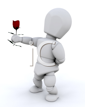 Royalty Free Clipart Image of a Man Offering a Rose