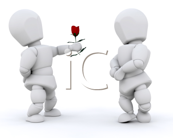 Royalty Free Clipart Image of a Man Giving a Rose to a Woman