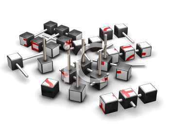 Royalty Free Clipart Image of an Economic Puzzle