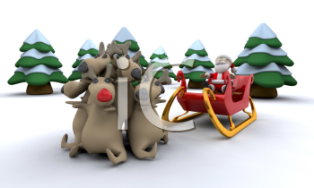 Royalty Free Clipart Image of a Santa and His Reindeer