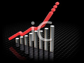 Royalty Free Clipart Image of a Chart Showing Rising Profits
