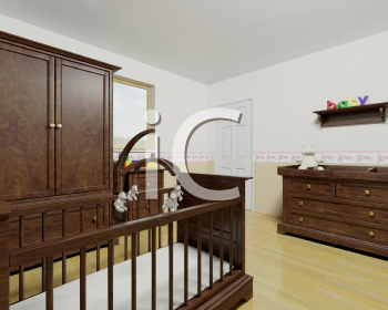 Royalty Free Clipart Image of Nursery Furniture