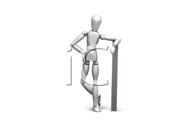 Royalty Free Clipart Image of a Guy Leaning on a Ruler