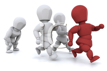 Royalty Free Clipart Image of a Group of Runners With a Red One in Front
