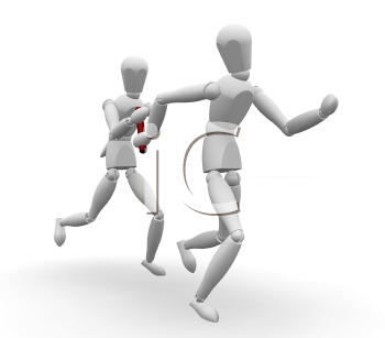 Royalty Free Clipart Image of Runners Passing a Baton