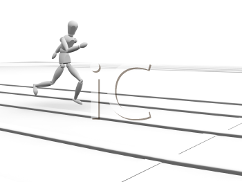 Royalty Free Clipart Image of a Runner Running to the Finish Line