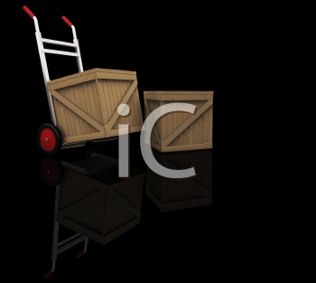 Royalty Free Clipart Image of a Dolly With Crates
