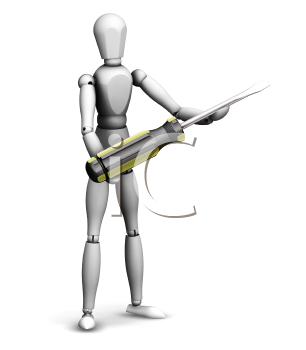 Royalty Free Clipart Image of a 3D Man Holding a Screwdriver
