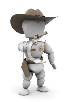 Royalty Free Clipart Image of a Sheriff Pointing a Gun