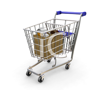 Royalty Free Clipart Image of a Shopping Cart With Groceries