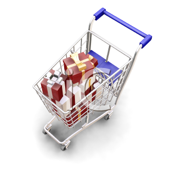 Royalty Free Clipart Image of a Shopping Cart Full of Presents