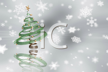 Royalty Free Clipart Image of a Christmas Tree on a Snowflake Background