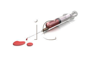 Royalty Free Clipart Image of a Bloody Syringe