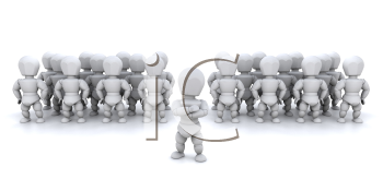 Royalty Free Clipart Image of a Guy in Front of Other Guys