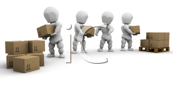 Royalty Free Clipart Image of a Team Loading Boxes