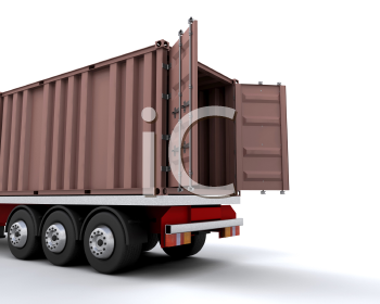 Royalty Free Clipart Image of a Tractor Trailer Cargo Hold