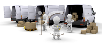 Royalty Free Clipart Image of People Loading Boxes Into Delivery Vans